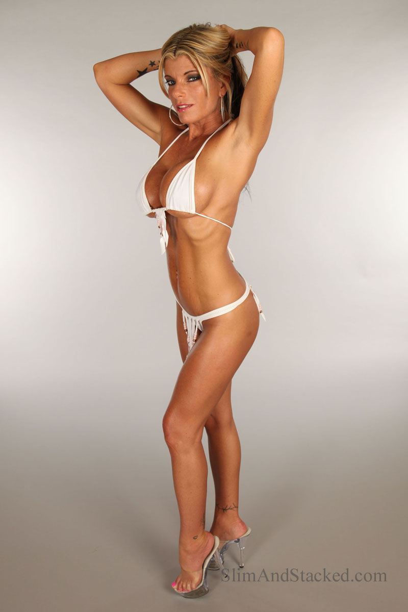 Krystal Summers looking devastating in her white bikini.