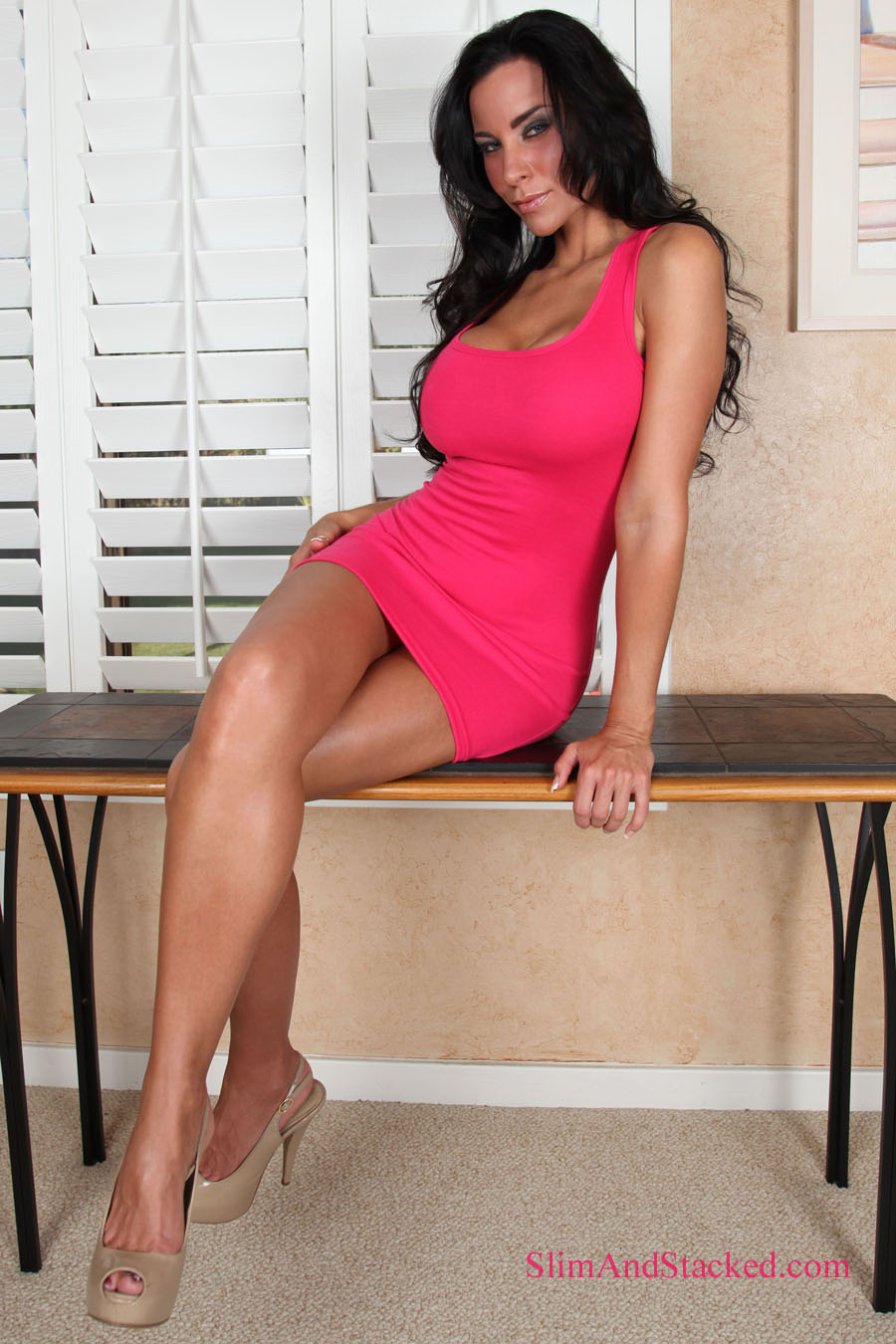 Laura Lee smoulders in a tight red dress.  Image how hot she looks when the dress comes off!  Contact dezertimagez@gmail.com for complete set pricing.