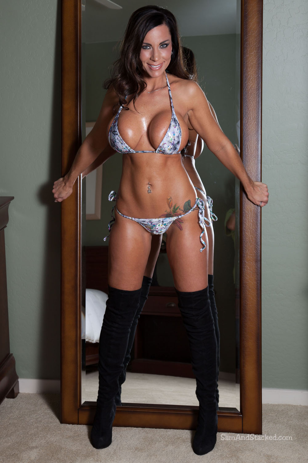 Laura Lee in a tiny bikini is an awe-inspiring sight.  Laura in bikini and boots drives the temperature even higher.  And when a mirror enters the mix, the results become incendiary!  Experience the heat yourself by owning Laura Lee - Mirror Bikini, featuring stunning 3000-pixel resolution.  Contact dezertimagez@gmail.com for set pricing.