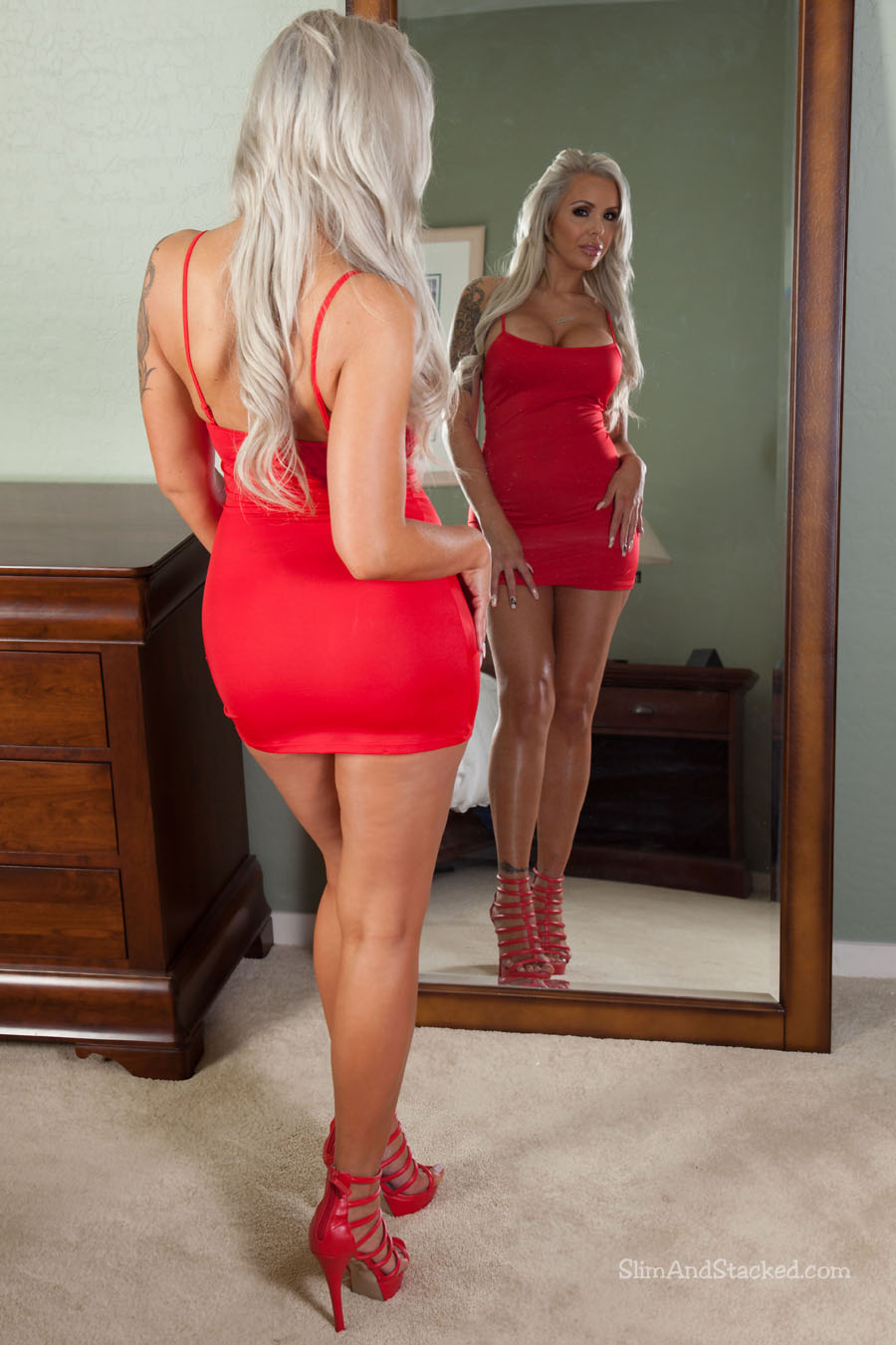 Mirror, mirror, on the wall.  Is Nina Elle sexy as hell in red, or what?!  Helping us to continue our mirror theme is the always alluring Nina, looking quite provocative in a tight red dress.  And as hot as Nina looks in these pics, image what happens to the room temperature as Nina teases that little number off?  Find out for sure by owning Nina Elle - Red Dress Mirror, in stunning 3000-pixel resolution.  Contact dezertimagez@gmail.com for set pricing.
